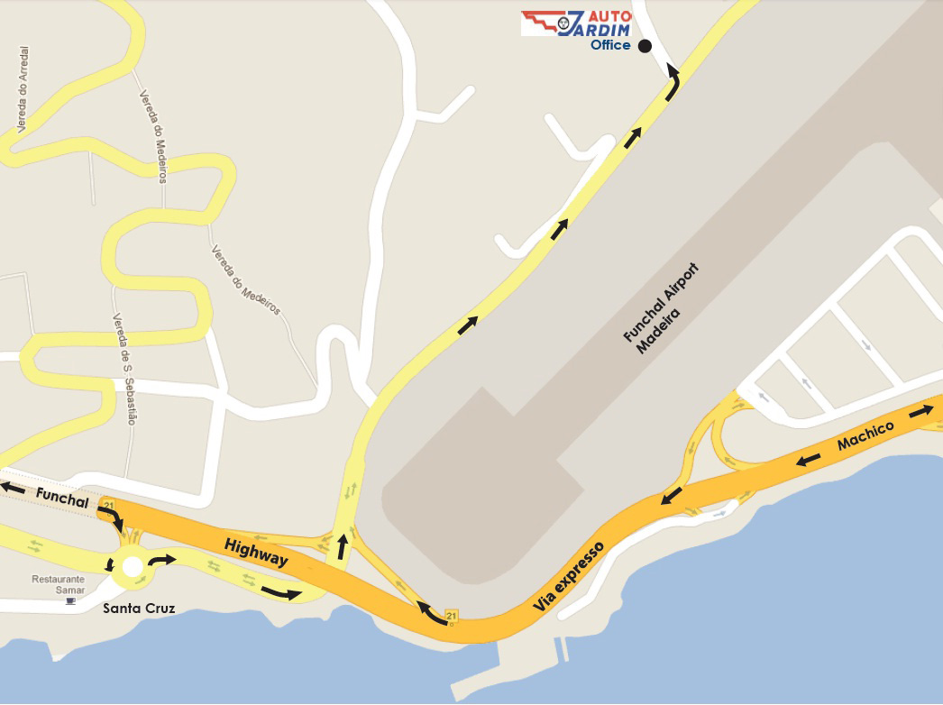Madeira Airport Map Auto Car Hire   Auto Jardim Shuttle in Madeira Airport, Portugal